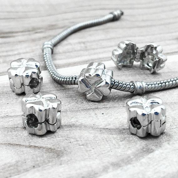 50PCS / LOT perline europee a forma di cuore Catene per bracciali per gioielli europei