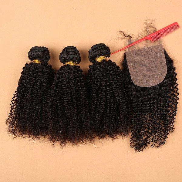Lockiges Haar mit Verschluss Mongolian Kinky lockiges reines Haar mit Verschluss Menschliches Haar mit Verschluss Silk Base Verschluss mit Bündeln