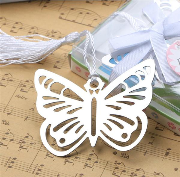 100 pcs Practical Reading Essential Metal Butterfly Bookmark With Tassels Boxed Picture Color Metal bookmark hollow-out bookmarks