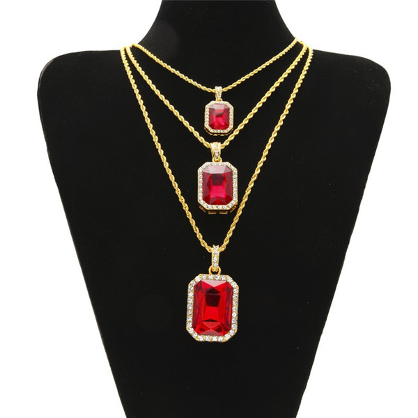top popular Hip Hop Men Jewelry Bling Iced Out Three Layer Ruby Pendant Necklaces Set with 20inch 24inch 30inch Chian 2020