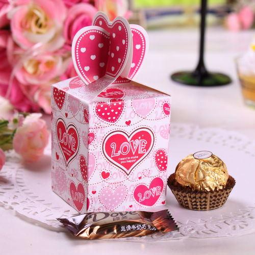 best selling Wholesale 3000pcs lot Pink Heart Love Wedding Paper Gift Jewelry Candy Box