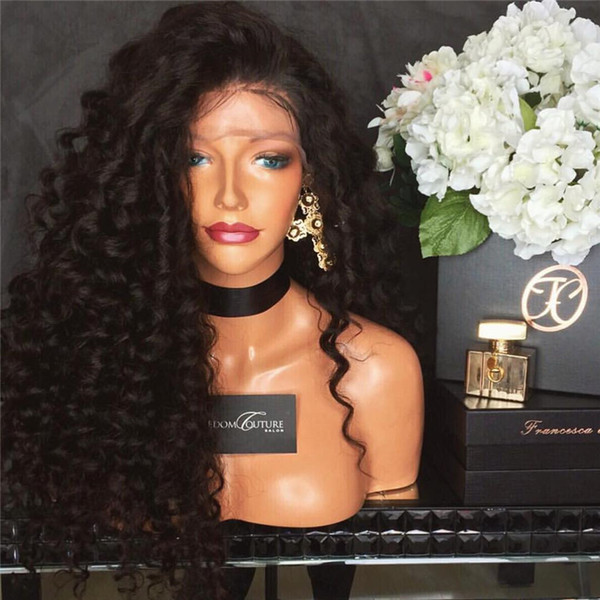 Kinky Curly Malaysian Human Hair Silk Base Wig Lace Front Wig Curly Silk Top Glueless Full Lace Wig with Baby Hair