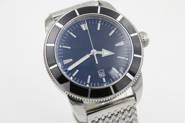 Reloj de muñeca automático de la edición limitadaBreilt Hombres Dial negro Caja de cerámica Banda Inoxidable Reloj Superocean envío gratis HK