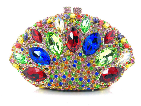 Free shipping !! Z16-1.multi color fashion top crystal stones ring clutches bags for ladies nice party bag
