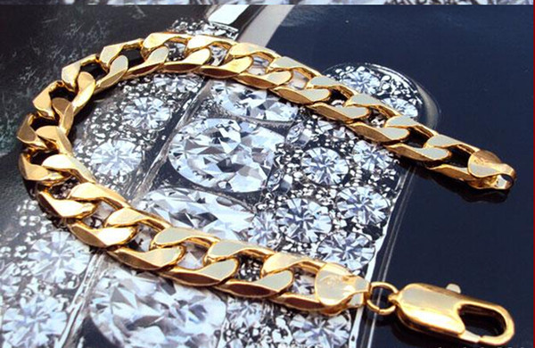 """Wholesale - free shipping real fine 14K REAL YELLOW GOLD Noble MEN'S BRACELET 37g HOT 9"""" FIGARO CHAIN GF"""