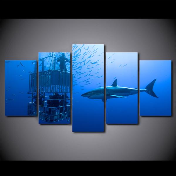 Acheter 5 Pièce Encadrée Hd Imprimé Bleu Foncé Océan Shake Moderne Maison Mur Décor Affiche Toile Art Peinture Animal Mur Photos De 38 06 Du