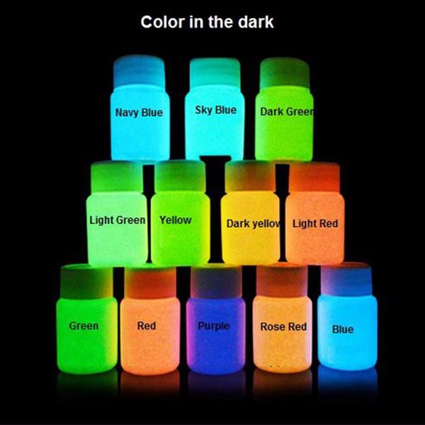 Venta al por mayor-12 colores de neón fluorescente UV pintura corporal Crecer en la pintura de la cara oscura Luminous Acrylic Paints Art for PartyHalloween Make