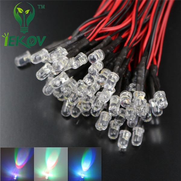 1000pcs 5MM 12V DC 20cm Pre-Wired Resistor Fast change RGB Flash Red Green Blue Rainbow MultiColor Round Strobe Emitting Diode DIY Wholesale