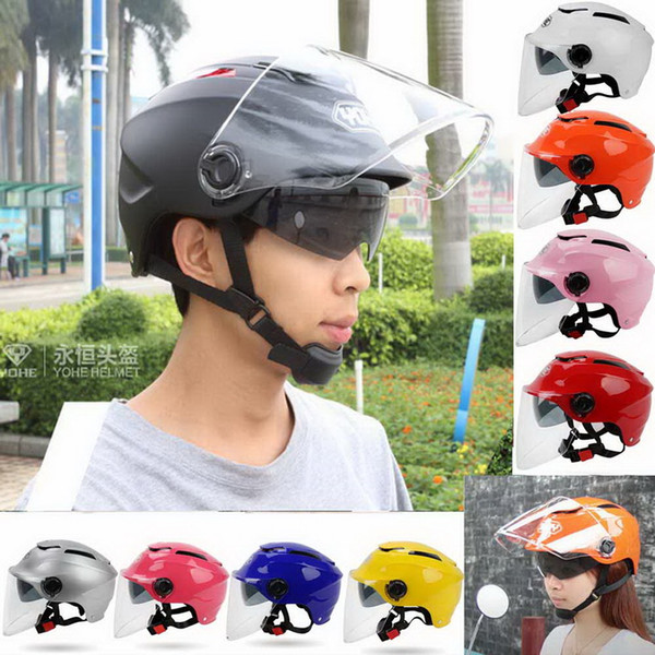 2016 New YOHE summer dual lens half face motorcycle helmet electric bicycle helmets Uv protection male and female model ABS FREE SIZE YH-365