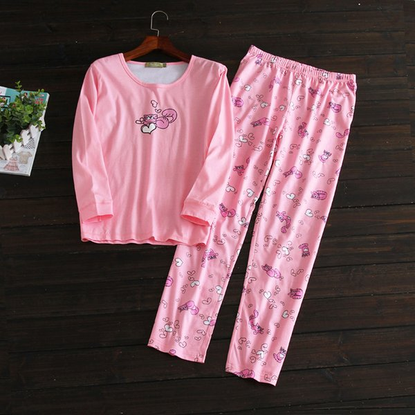 Women Pajama Set pink cute Nightdress Pyjamas Set Pajamas Cotton Sleepwear Long sleeve lounge wear O-neck BY39