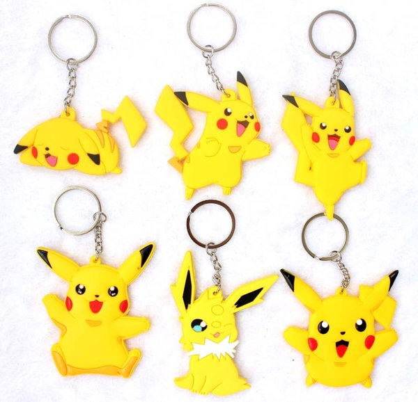 Anime figures Mixed Pocket Monsters Pikachu Keychains Toys Key Chains Pendants Girls Toys Christmas Gifts 100pcs/lot Anime Cartoon