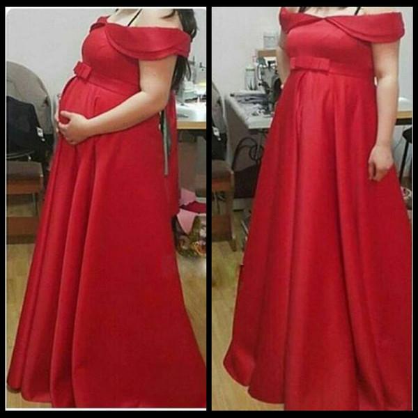 Compre 2017 Vestidos De Noche Embarazadas Fuera Del Hombro Arco árabe Rojo Longitud Del Piso De Maternidad Satinado Vestidos Fiesta Robe De Soiree A