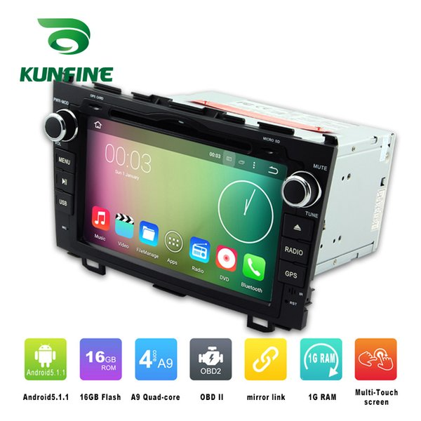 Quad Core 1024*600 Android 5.1.1 Car DVD GPS Navigation Player Car Stereo for Honda CR-V 2006-2011 Radio 3G Wifi BluetoothK KF-V2244Q