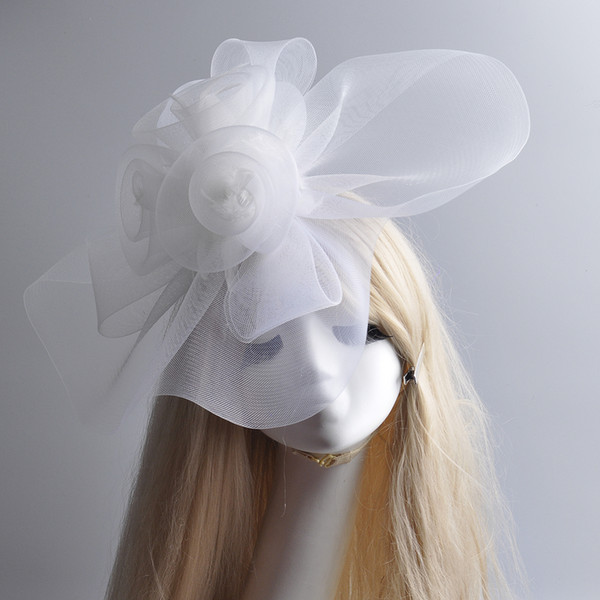 Large Fashion New White Net Feather Fascinator Handmade Hat Hair Clip Races Vintage Wedding Hat