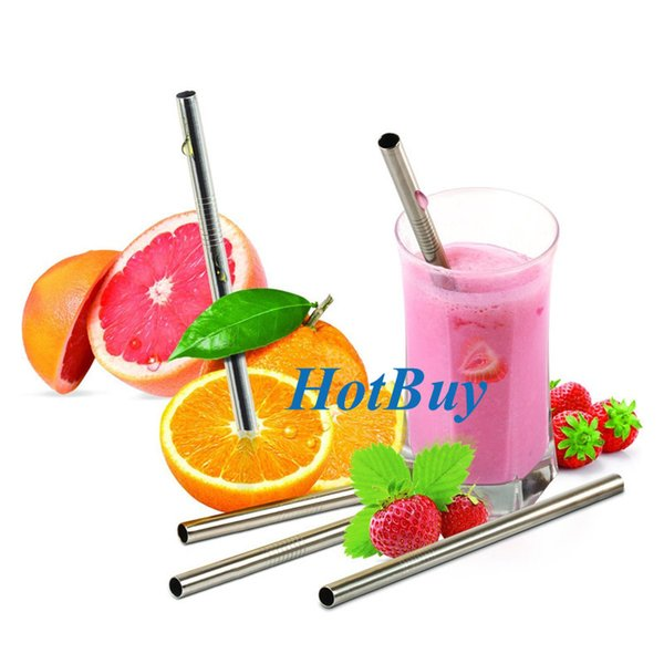 top popular 200X Eco-Friendly Straight Metal Drinking Straw Stainless Steel Reusable Straws For Beer Fruit Juice Drink #3985 2020
