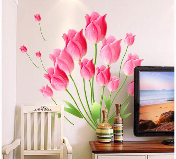 Romántico rosa rosa flor pegatinas de pared sala de estar dormitorio sofá TV calcomanías de fondo Mural decoración para el hogar etiqueta de la pared decoración de la boda