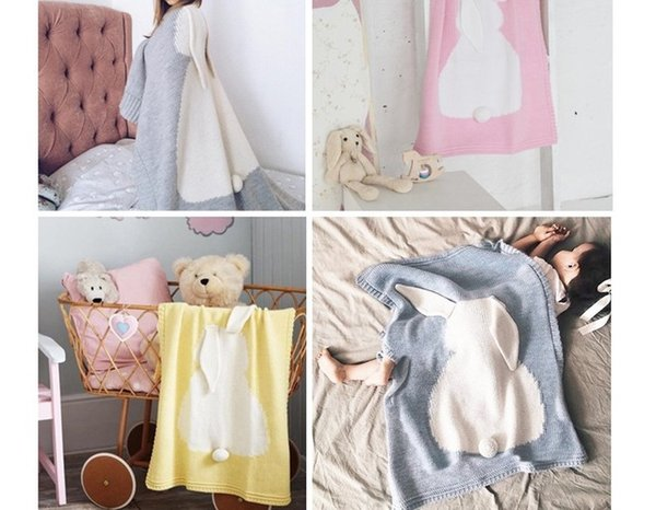Baby Cartoon Rabbit Blankets Ins Cute Bunny Crochet Knitted Bed Sofa Towel Mantas Bed Spread Bath Towels Napping Blanket Swaddling SYB01