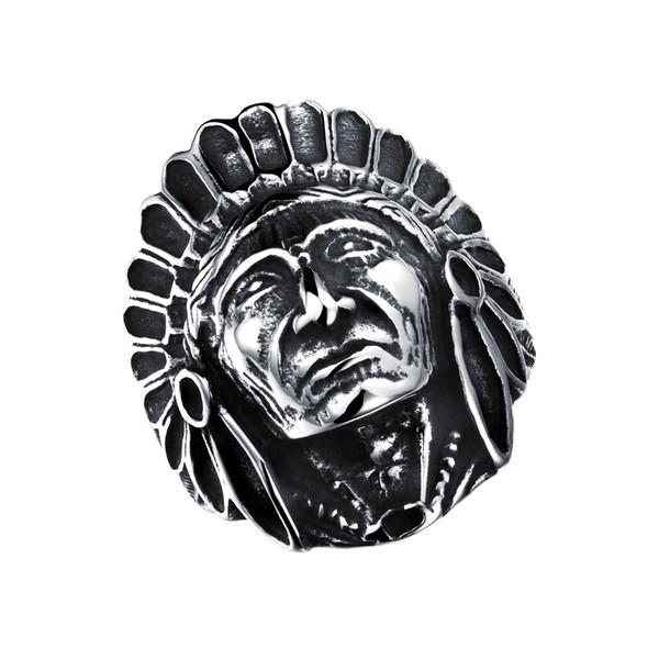 Men Rings Indian Chief Design Stainless Steel Vintage Jewelry Skull Big Ring Black Punk Ring wholesale GJ484