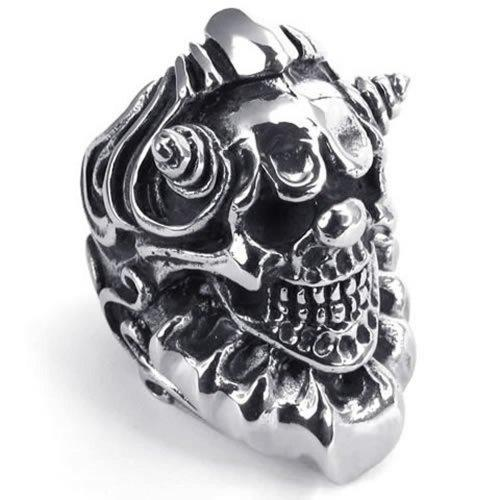 073605-Wholesale Cool elegant fashion ring Heavy Large Vintage Stainless Steel Gothic Skull Biker Mens Watch ring US Ring Size: 8-13