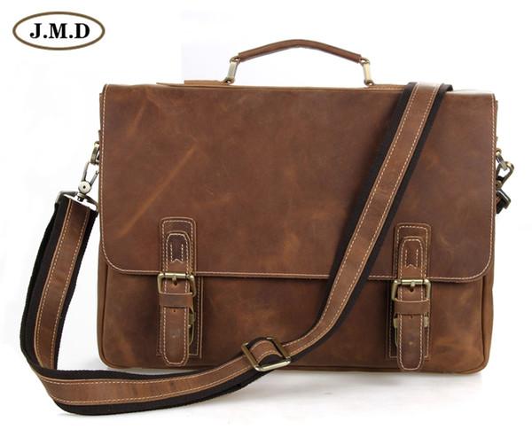 Wholesale-7229B JMD Retro Antik Stil Herren Crazy Horse Leder Messenger Aktentaschen Taschen Laptoptasche