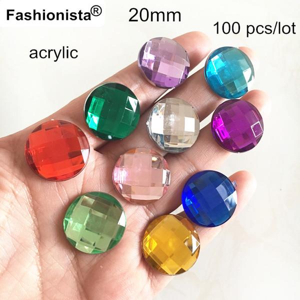 20mm Round Flat Back Faceted Rhinestone Beads,Acrylic Rhinestone Cabochon For DIY Jewelry - Free Shipping,100 pcs