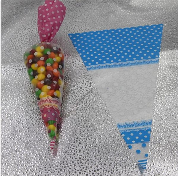 17*30cm Polka Dot Candy Bag Cello Cellophane Cone Shaped Sweet Candy Treat Display Favor Gift Wedding Party Decoration Supplies