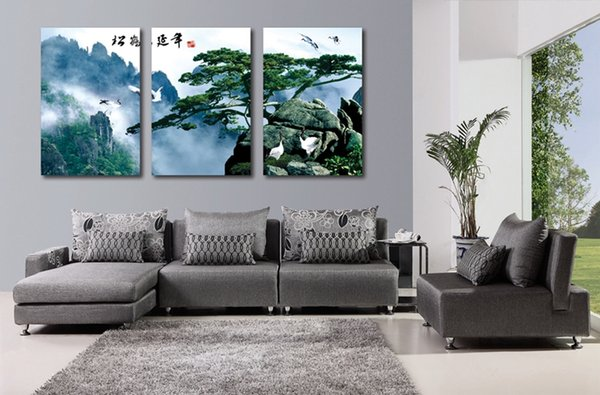 Wall decoration 3 Pieces no frame art picture on Canvas Prints mountain tree grassland house cloud fog river Bridge waterfall crane