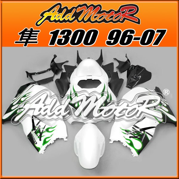 Best Selling Fairings Addmotor Injection Mold Plastic For Suzuki GSXR1300 Hayabusa 96-07 Flames Green White S3615 +5 Free Gifts Best Chioce