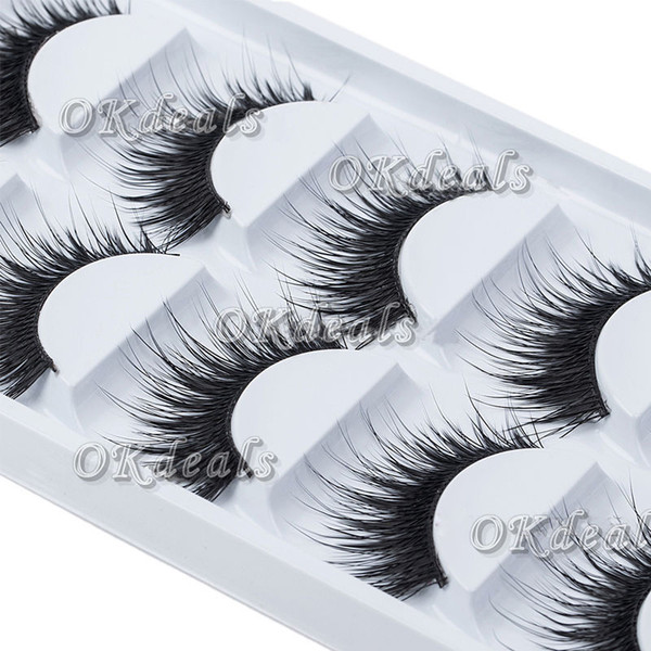 wholesale-5 pairs of women ladies makeup thick false eyelashes eye lashes long black nautral handmade makeup beauty tools