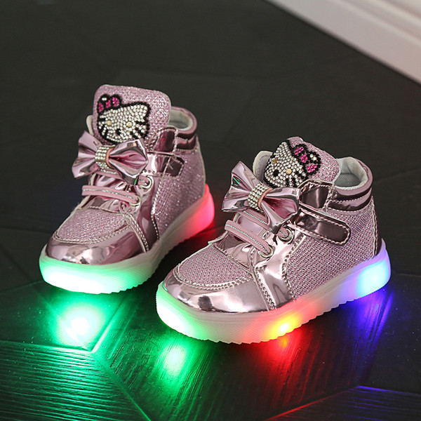 best selling Children Shoes New Spring Hello Kitty Rhinestone Led Shoes Sports Girls Princess Cute Shoes With Light Size 21-30