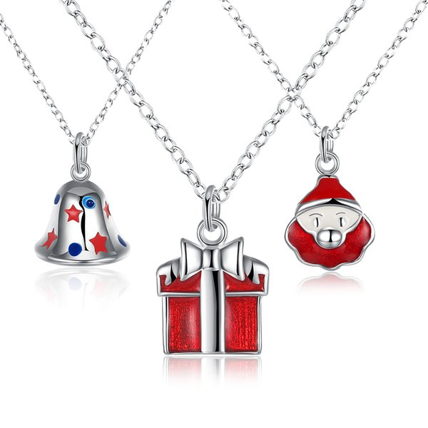 2017 Christmas Pendant Necklace Creative Enamel Gift Box Bell Necklace Silver Plated Necklace Best Xmas Gift for girls women 3 styles