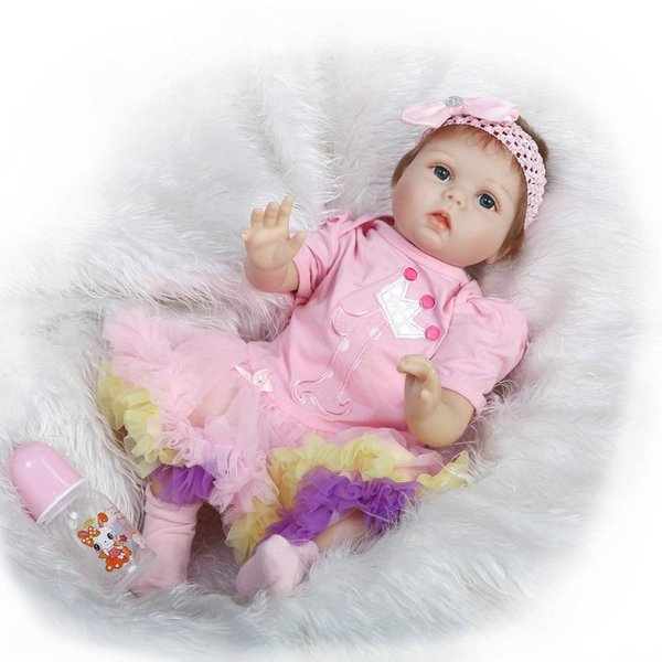 """22"""" So Truly Real Blue Eyes Baby Girl Born Doll Fairy Princess Girl Doll Toy Birthday Gift Doll in Pink Flower Skirt"""