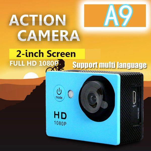 "best selling A9 Copy Sports Action Camera Diving 30M 2"" 120° Meter Waterproof Cameras 1080P Full HD waterproof Sport DV Car DVR 750Mah Battery"
