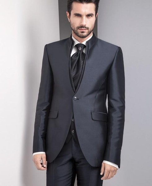 New Fashion Custom Made Black Men's Suit Bridal Groom Suits (Jacket+Pants+Vest) Handsome Tuxedos new style fashion men's suit