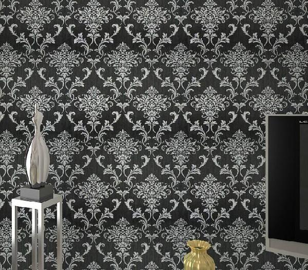 PVC glitter preto / prata damasco papel de parede parede do fundo papel de parede para sala papéis de parede decoração da sua casa WP036