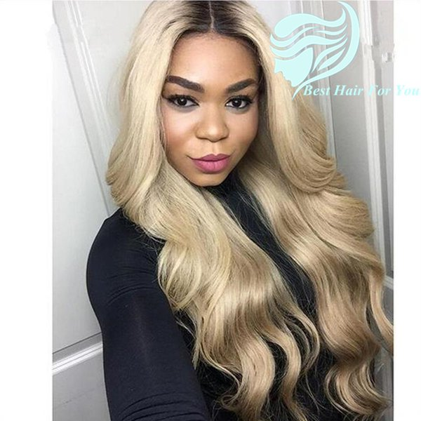 Two Tone Color 1b/613 Brown Blonde Dark Root Ombre Body Wave Brazilian Human Hair Front/Full Lace Wig With Baby Hair