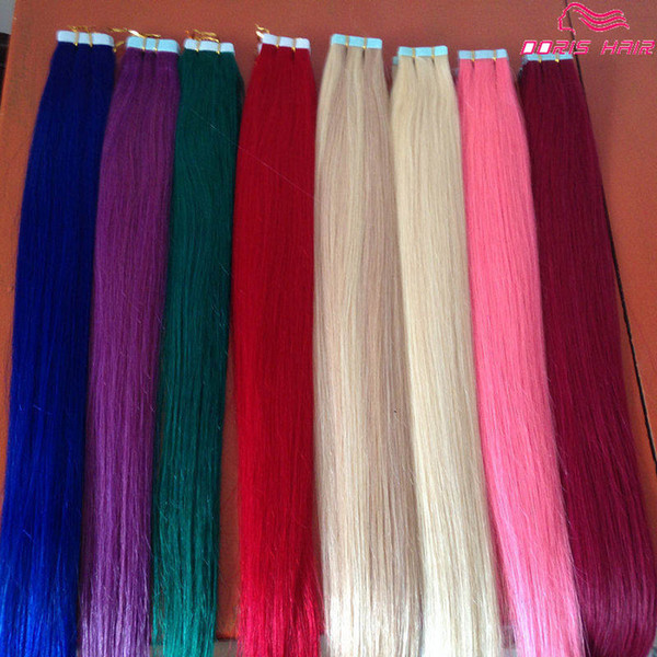 wholesale human hair tape in hair extensions Color indian remy Hair Products pink red blue purple Free Shipping