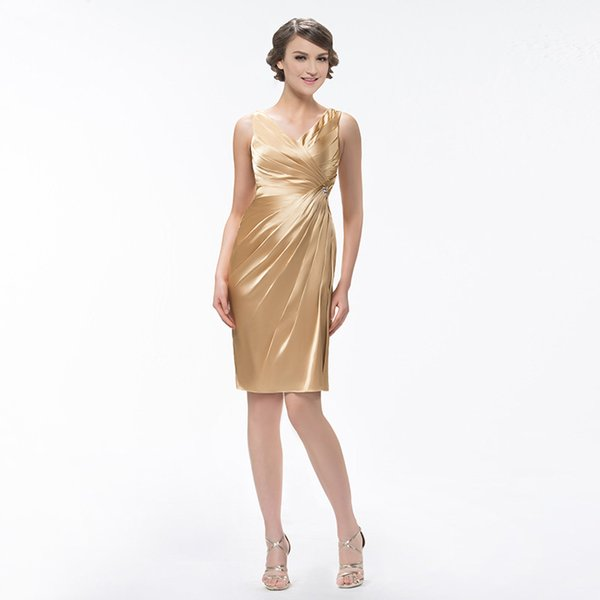 Großhandel Einfache Goldene Brautjungfernkleider Mit V Ausschnitt ...