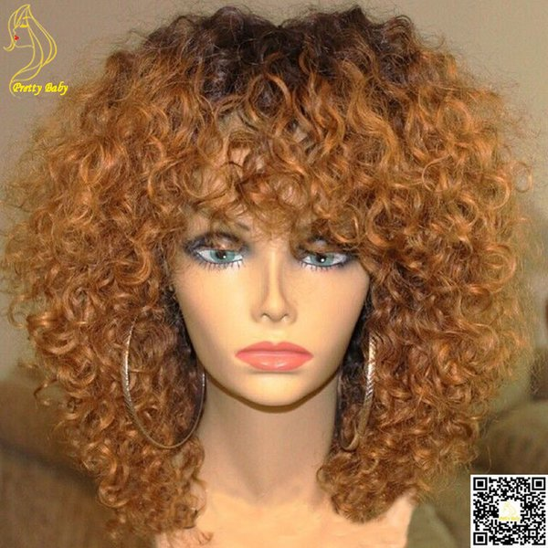 Honey Blonde Ombre Full Lace Human Hair Wigs Kinky Curly Peruvian Virgin Hair Lace Front Wig with Bangs Two Tone 1b/30
