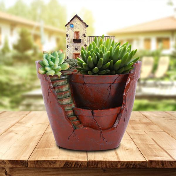 1pc Hanging Garden Shape Resin Flower Pot Castle House Design Pot For Planting Bonsai Cactus Succulent Plants Garden Decoration