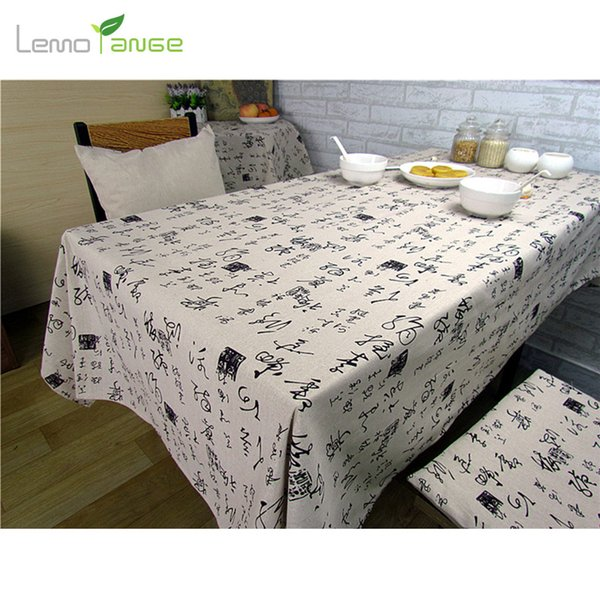 Wholesale- Table Cloth Chinese Style Lemorange Chinese Characters Cotton&Linen Cloth Desk Dining-table Decoration Placemat TQQ0086