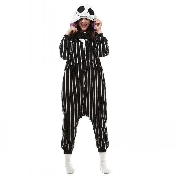 fb34663b107 Cosplay Anime The Nightmare Before Christmas Jack Skellington Skeleton Costume  Onesie Party Christmas Pajamas Plus Size S-XL Jumpsuit Free