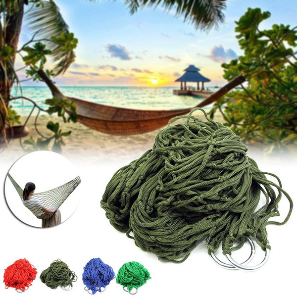 top popular Style Mesh Nylon Hammock Hanging Outdoor Garden Swing Sleeping Bed Swing Strong Hammock for Camping   Hiking   B 2019