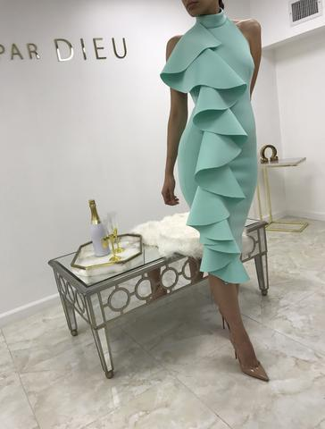 High Neck Mint Knee Length Cocktail Dresses Side Ruffles Sexy Short Prom Dresses Black Party Dress Backless Evening Gowns