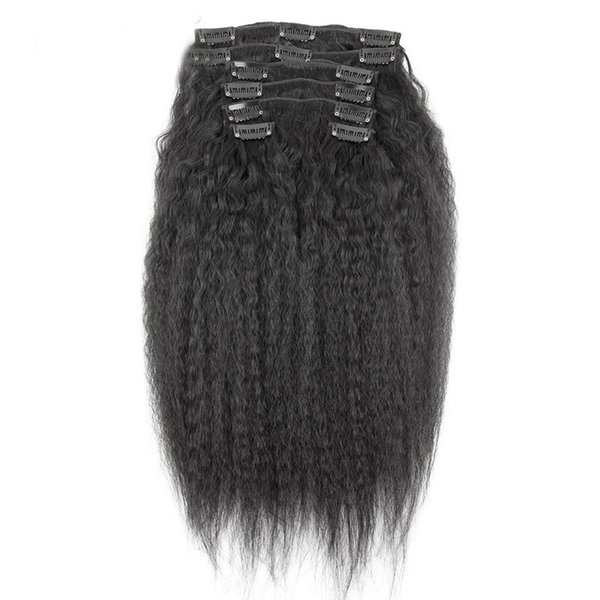 Brazilian Clip in Human Hair Extensions Kinky Straight Clip ins for African American 100%Real Hair Clip in Extensions
