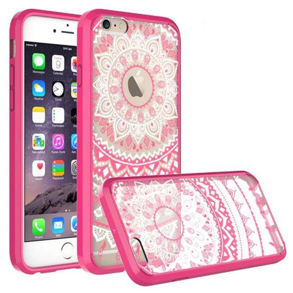Mandala serie totem casi per iphone6 6 6s hennè floreale fiore pizzo disegno chiaro stampato pc casi posteriore duro copre per iphone 6