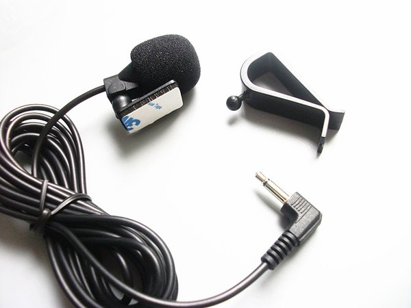 Mini Wired External Car Microphone for Car DVD Player and 3 m Cable with 3.5 mm Mono Audio Jack collar Microphone 500pcs/lot Fedex shipping
