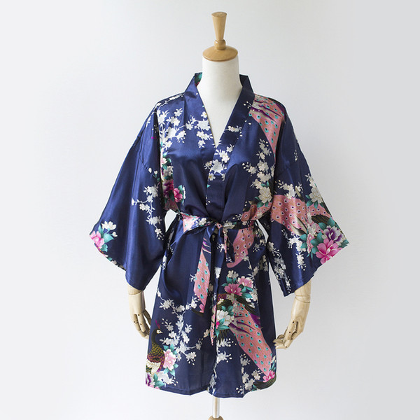 Navy Peacock Kimono bridesmaid bridal party gift wedding dress bride robe groomsmen SR6