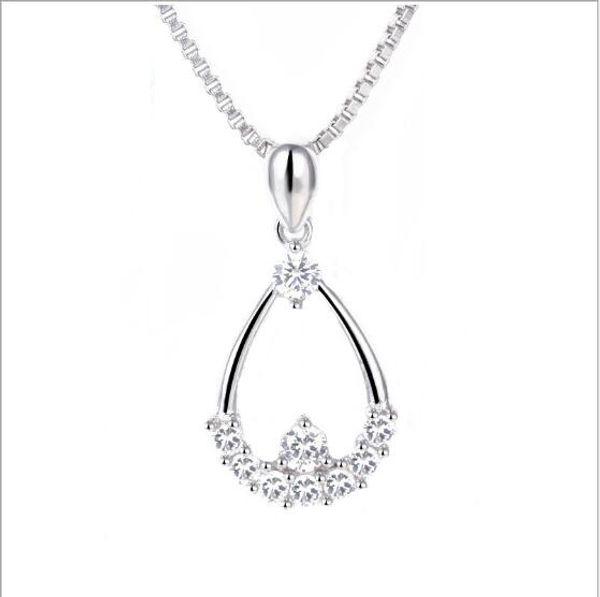 Joyería de lujo de plata de ley 925 collar de gota de agua de diamante colgante para mujeres chica, 17.71 pulgadas, collar de collar de 15.74 pulgadas
