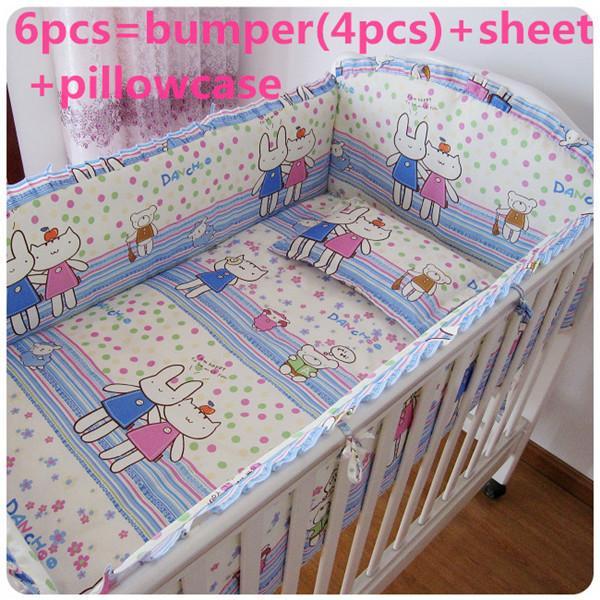 Promotion! 6PCS baby cot bedding set Crib Set bed linen 100% cotton (bumpers+sheet+pillow cover)